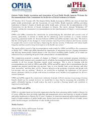 Ontario Public Health Association and Association of Local Public Health  Agencies Welcome the Recommendations of the Commission