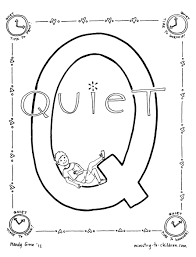 alphabet coloring pages q is for quiet time page lowercase