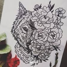 фото эскизы волк в стиле авторский графика лайнворк черно белые