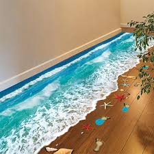 romantic sea beach floor sticker 3d simulation beach home decor decal for decoration bathroom bedroom living room backdrop wall sticker 3d beach floor