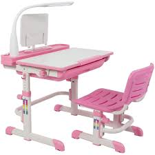Height Adjustable Kids Desk & Chair Set Workstation - Pink