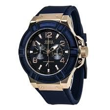 guess watches on up to 35% off discount watch store guess u0247g3 men s trendy blue dial rose gold steel blue rubber strap watch