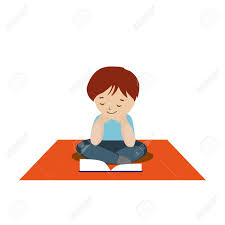 boy sitting on the carpet and reading a book or tutorial cartoon character isolated white