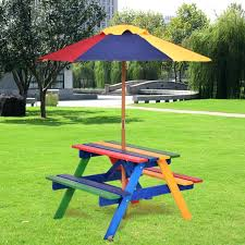 kids wooden picnic table with umbrella kids children garden picnic table bench w umbrella wooden rainbow kids wooden picnic table