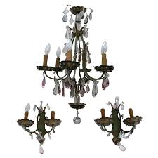 1920s chandelier and two matching sconces attributed to maison baguès for