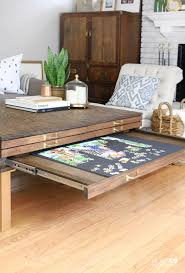 diy coffee table with pullouts hometalk funky junk present regarding jigsaw coffee table
