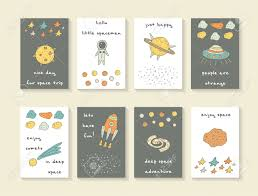 Cute Hand Drawn Cosmic Doodle Cards Brochures Postcards With