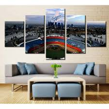 5 piece los angeles dodgers stadium logo basketball canvas painting wall art it make your on wall art stores los angeles with los angeles dodgers stadium logo it make your day