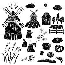 farm windmill drawing. Windmill, Wheat, Farm House. Royalty-free Windmill Wheat House Stock Vector Drawing