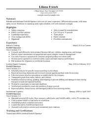 Sample Resume For Forklift Operator