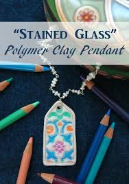 how to make a stained glass polymer clay pendant