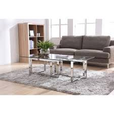 Modrest Valiant Modern Glass U0026 Stainless Steel Coffee Table