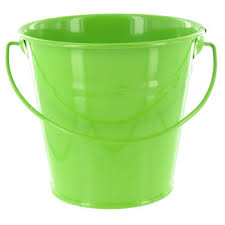Lime Green Small Solid Metal Pail with Handle