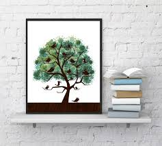 tree watercolor print tree minimalist art birds on tree nature art watercolor design spring wall decor tree art instantart1
