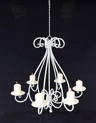 Kronleuchter 95297 Weiß Kerzenhalter H 60cm Kerzenständer Hängeleuchter Metall