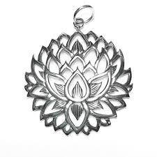 sterling silver lotus flower pendant 39mm