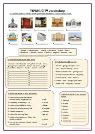 Vocab Building Worksheets Town City Vocabulary English Esl Worksheets