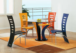 Glass Dining Table Set 4 Chairs Round Glass Dining Table Set For 4 With Modern Style Pizzafino