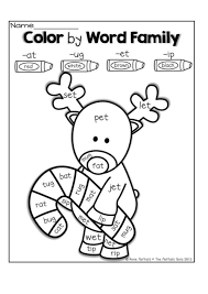 christmas worksheet Color by word family