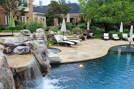 patio with pool.  Patio Pool Patio With Flagstone And Deep Blue Water VA And A