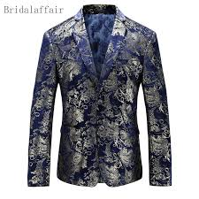 Us 43 55 35 Off Wonderful Navy Blue Mens Gold Floral Blazer Elegant Slim Fit Jacket Performance Casual Suit Golden Printed Suit Coat For Stage In