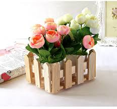 Decorative Planter Boxes Natural Rectangle Wood Flower Holder Box Wooden Organizer For 40