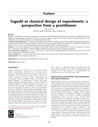 Taguchi Methods Design Of Experiments Examples Pdf Taguchi Or Classical Design Of Experiments A