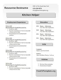 Sample Kitchen Helper Resume