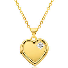 9ct yellow gold heart shaped locket with diamond tw 0 005ct 10252929 jewellery shiels jewellers