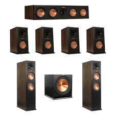 klipsch 7 1 home theater system. klipsch walnut 7.1 system with 2 rp-280fa tower speakers, 1 rp-450c center speaker, 4 rp-160m bookshelf r-115sw subwoofer 7 home theater