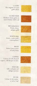 Liquid Leaf Colour Chart For Gold Leaf Gilding Information