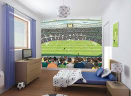 kids bedroom with tv. Comfy Boys Bedroom For Kids Design Ideas With Soccer Game Wallpaper And Balls Themed Accessories Motif TV Cabinet Bedside Table Plus Wood Furnitures Set Tv
