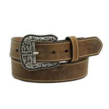 western womens belt leather heavy stitch edge brown extra large