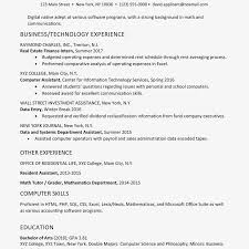 Technology Skills On Resumes College Technology And Business Resume Example