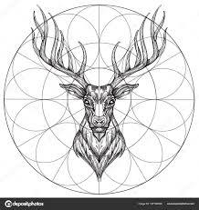 голова оленя геометрическим орнаментом обновление рисованной эскиз