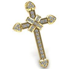 details about 0 75ctw round brilliant cut diamond las pave religious cross pendant 18k gold