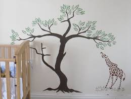 painting palm trees on walls giraffe and acacia tree wall stencil