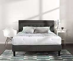 dark grey upholstered bed.  Upholstered Zinus Upholstered Button Tufted Premium Platform Bed  Strong Wood Slat  Support Dark Grey And Grey E