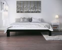 stella metal platform bed frame black front view Stella Metal Platform Bed Frame - Modern, Finish Thick and Wide