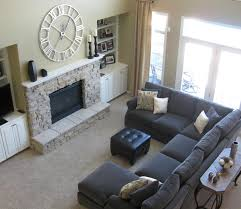 grey couch living room decorating ideas grey fabric sectional sofa black leather ottoman coffee table