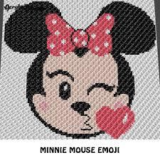 Minnie Mouse Emoji Kissing Disney Cartoon Character Crochet Graphgan Blanket Pattern C2c Cross Stitch Graph Chart Pdf Instant Download