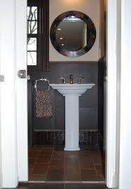 small pedestal sink powder room eclectic with bathroom pocket door brown brown crocodile tile brown elephant