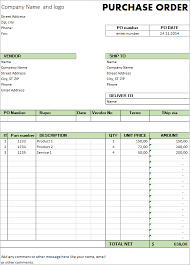 Purchase Order Forms Sample Excel Template Free Purchase Order Template For Microsoft Excel By