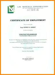 Template Of Certificate Of Employment Grupofive Co