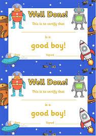 Twinkl Resources Good Boy Award Certificates Classroom