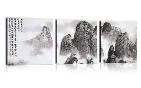 chinese mountains landscape painting wall art modern canvas art wall decor stretched framed ready on 3 piece wall art mountains with shop by subjects cheap oil paintings paintings for sale wall art