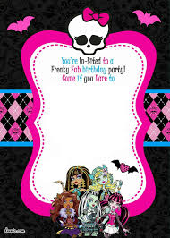 Girl Birthday Invitation Template Free Printable Invatations Monster High Party Invitations