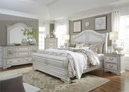 Magnolia Manor Sleigh Bed 6 Piece Bedroom Set in Antique White ...