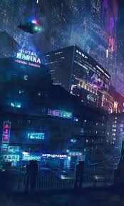Digital wallpaper of city street, city view during nighttime. Cyber Phone Wallpapers Wallpaper Cave