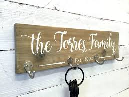 personalized coat rack this wooden key holder sign features zinc hooks for  coats jackets hats or